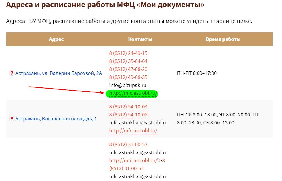 Официальный сайт в таблице контактов
