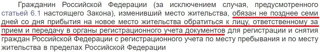 Статья 6. Регистрация гражданина Российской Федерации по месту жительства